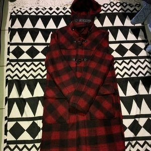 Zara wool plaid coat with detachable hood 🔥